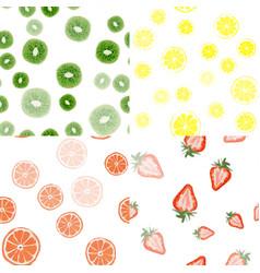 Seamless pattern strawberry lemon orange vector