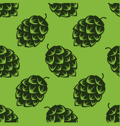 seamless pattern with green beer hops colorful vector image