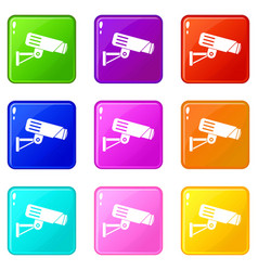 Security camera set 9 vector