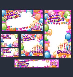 set birthday cards with place for text vector image