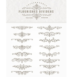 set flourishes dividers vector image