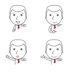 set of businessman lines cartoon with different ge vector image