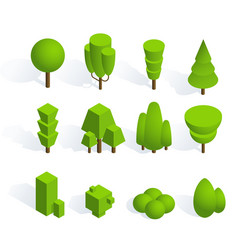 set of isometric trees and bushes with shadow on vector image
