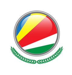 seychelles flag button seychelles flag icon of vector image