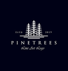 Simple line art evergreen pine tree logo design vector