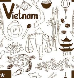 Sketch Vietnam seamless pattern vector image
