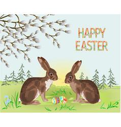 spring landscape forest easter hares vector image
