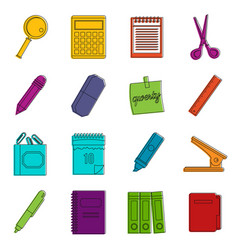 Stationery symbols icons doodle set vector