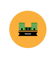 Stylish icon in color circle building prison vector