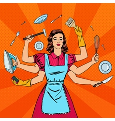 Successful Housewife Multitasking Woman vector image