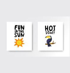 summer cards set colorful posters with hand vector image