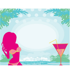 summer girl and coctail on background sea vector image