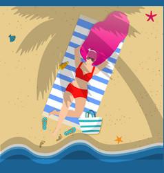 tanning woman on beach summertime leisure resort vector image
