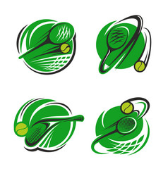 Tennis sport club ball and racket icons vector