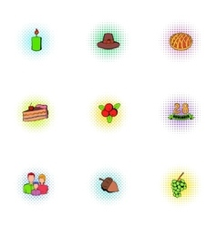 Thanksgiving day icons set pop-art style vector image