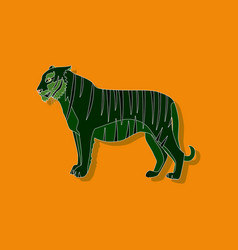 tiger paper sticker on stylish background vector image