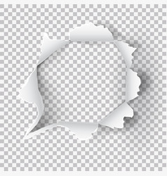 Torn ripped paper hole on transparent background vector