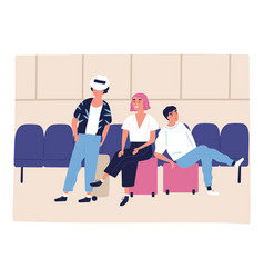 tourist family sitting on suitcases at waiting vector image