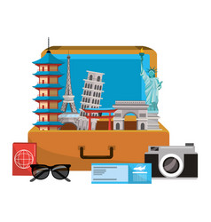 travel luggage cartoon vector image