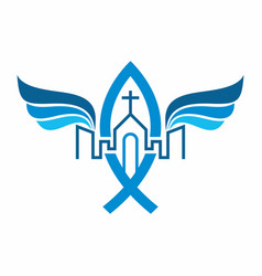 Unity in christ church jesus in city vector