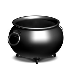 Vintage empty black iron cauldron vector