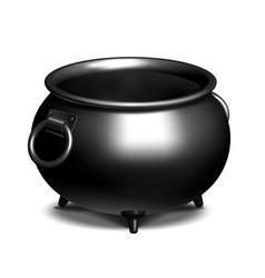 Vintage empty black iron cauldron vector