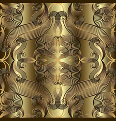 Vintage gold floral line art tracery 3d damask vector