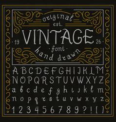 vintage whiskey font handwritten alphabet letters vector image