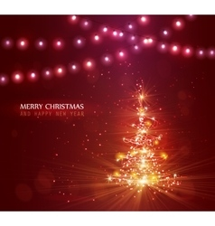 Christmas tree with defocused lights Red vector image vector image