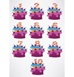 collection of birthday cakes and numbers vector image vector image