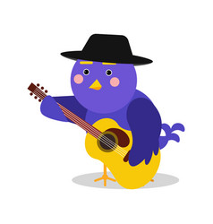 Funny cartoon bird character playing guitar blue vector