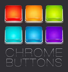 Set of Colorful Chrome Buttons vector image