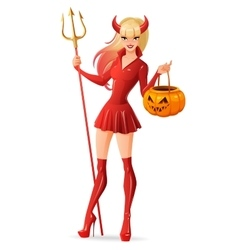 Sexy woman in halloween devil costume with jack-o vector