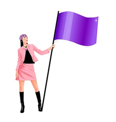 flag bearing woman vector image vector image