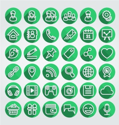 Flat Icons Social Media Round Green Set vector image vector image
