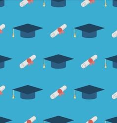 Graduation Cap and Diploma Seamless Pattern vector image vector image