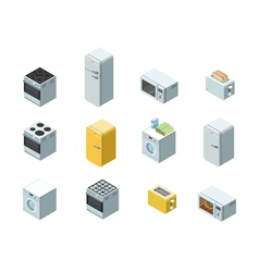 isometric set of household appliances icon 3d flat vector image