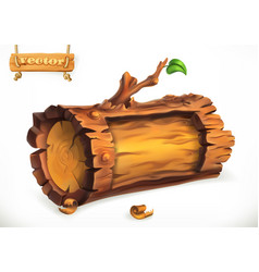 log wooden sign 3d icon vector image vector image