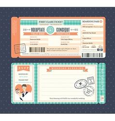 Pastel retro boarding pass ticket wedding card vector