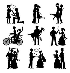 romantic love couples silhouettes for vector image vector image
