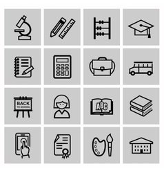 black higher education icons vector image