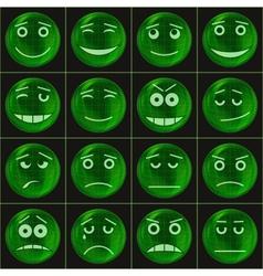 Bubbles smileys green vector image