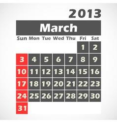 Calendar 2013 March vector image
