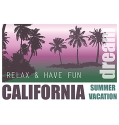 California Dream Palm Background vector image vector image