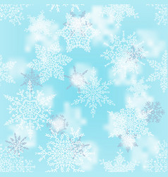 christmas white and silver snowflakes on blur blue vector image