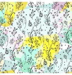 Floral seamless pattern Herbs and wild flowers vector image