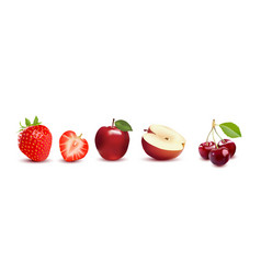 fruit icons strawberry apple and cherry vector image