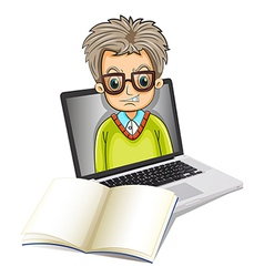 An image of a man inside a laptop with an empty vector image