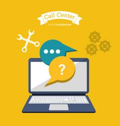 call center online computer technology vector image