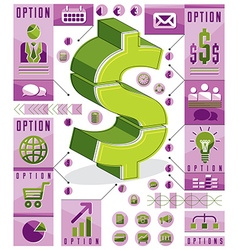 Creative infographics template layered dollar sign vector image